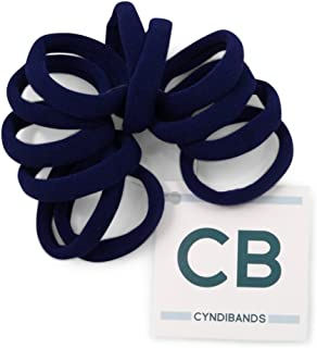 Gentle Hold Soft and Stretchy Seamless 1.5 Inch Elastic Nylon Fabric No-Metal Ponytail Holders - 12 Hair Ties (Navy Blue)
