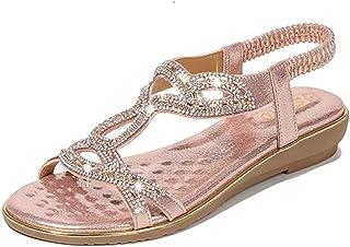 a7a34af5186fd4 WIEIS Sandales pour Femmes Tongs Sandales De Plage Strass Grande Taille  Sandales D'été Bohême