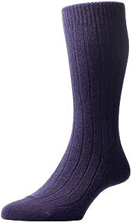 Pantherella Mens Waddington Rib Luxury Cashmere Socks - Navy