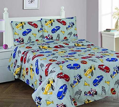 Elegant Home Multicolor Grey Red Blue Yellow Racing Cars Design 4 Piece Printed Full Sheet Set with Pillowcases Flat Fitted Sheet for Boys/Kids/Teens # Race Car (Full)