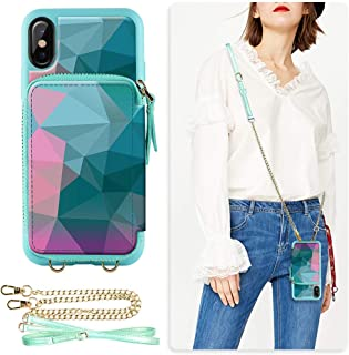 ZVE Case for iPhone Xs Max Case, 6.5 inch, Walllet Case with Credit Card Holder Slot Crossbody Chain Handbag Purse Wrist Z...