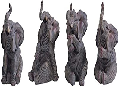 """StealStreet SS-G-54134 Small Polyresin Animated Elephants Figurine Statues (Set of 4), 4"""""""