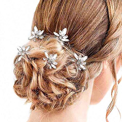 Fairvir Brautschmuck Hochzeit Haarnadeln Silber Strass Braut Haarschmuck für Frauen Mädchen 5 Stück