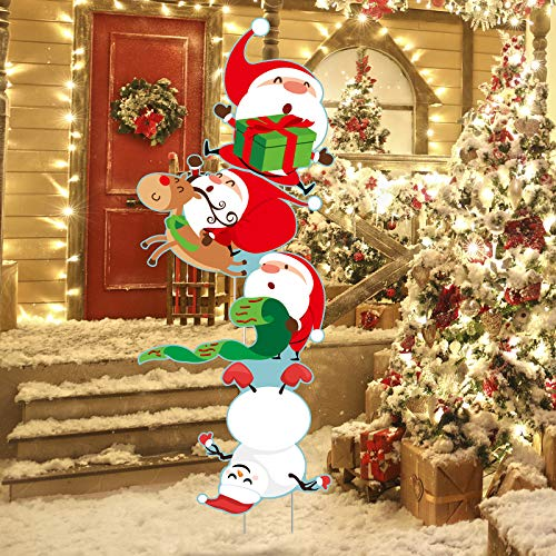 Elcoho 4 Pack Christmas Santa Giant Yard Signs Splicing Santa Snowman Lawn Decorations Giant Holiday Decor Signs Yard Signs with Stake for Christmas Decorations