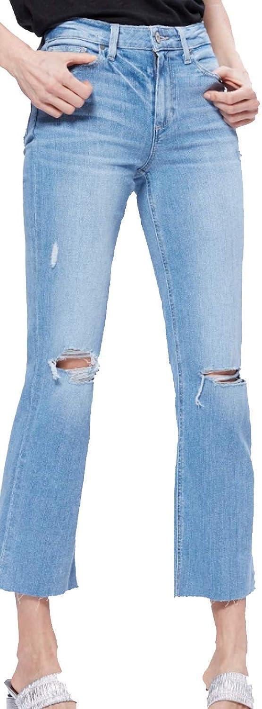 Paige Women's Jean Atley Ankle Flare Floretta Destructed Raw Hem HIGH Rise Jeans 5263C36 6315