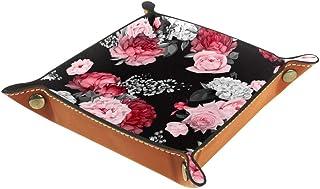 BestIdeas Panier de rangement carré 20,5 × 20,5 cm, avec pivoine rouge et blanc, boîte de rangement sur table pour la mais...
