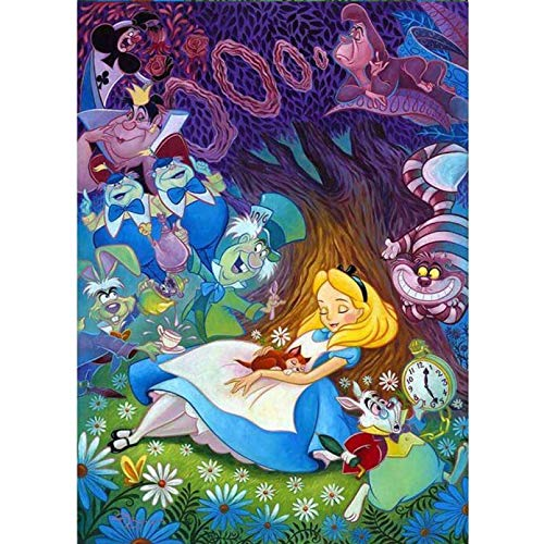 GZZG 5D DIY Diamond Embroidery Cartoon Princess Diamond Painting Alice in Wonderland Full Square Rhinestone Mosaic Decoration-12x16in(30x40cm)