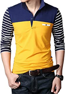 Wishere Mens Fashion Slim Fit T-Shirt Cotton Striped Long-Sleeved Casual Polo Shirt