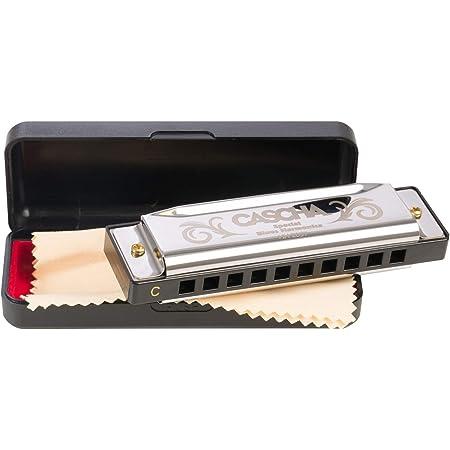 CASCHA Harmonica en do majeur, étui et chiffon de nettoyage inclus, Harmonica Special Blues Country, pour débutants et enfants, Argent