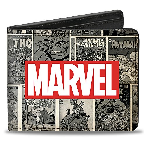 Buckle-Down Marvel Logo / Retro Comic Covres/Scene Blocks Grays/Rojo/Blanco, Multicolor, tamaño estándar