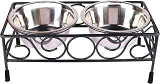 Pets Empire Dog Bowl Stand Square Elevated Shape Diner for Dogs and Cats Stainless Steel Food and Water Bowls with Iron St...