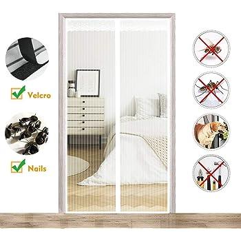 for Le Salon//Porte Patio Adsorption magn/étique Pliable AMCER Rideau magn/étique pour Portes 85x255cm Rideau Porte Anti Insectes Lair Peut circuler Librement