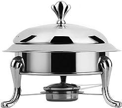 Shabu Shabu acero inoxidable al aire libre densamente portátil estufa de alcohol bufé Pequeño Pot Real Pot, Plata 30cm (Color : Silver, Size : 24cm)
