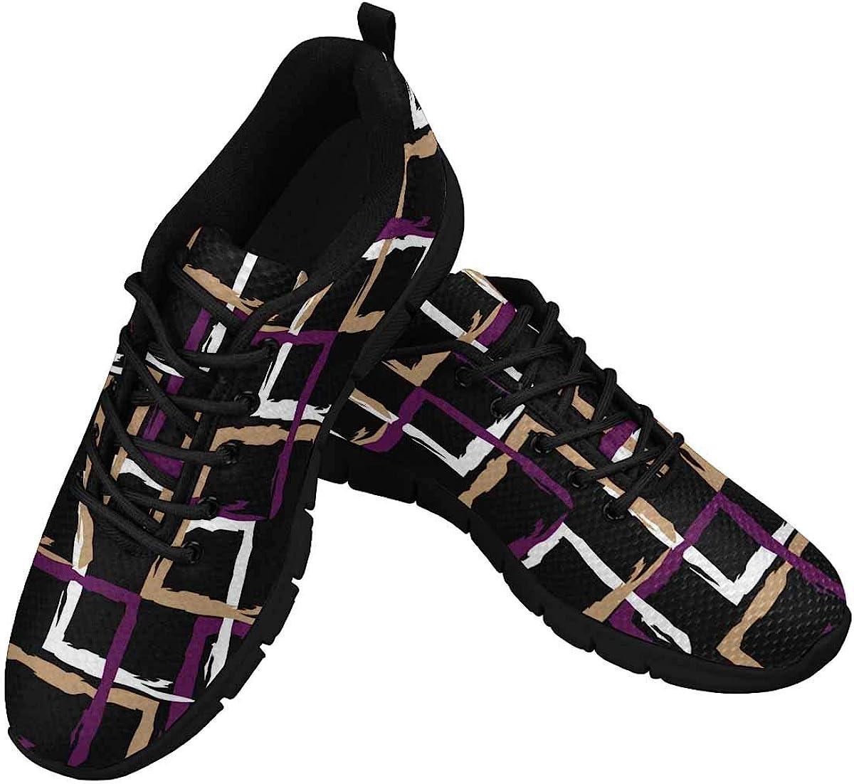 INTERESTPRINT Black Purple White Pattern Women's Athletic Walking Shoes Comfort Mesh Non Slip