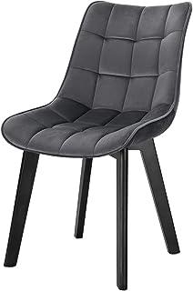 Lestarain 1X Sillas de Comedor Dining Chairs Sillas Tapizadas Paquete de 1 Sillas Cocina Nórdicas Terciopelo Sillas Bar Madera Silla de Oficina Gris Oscuro