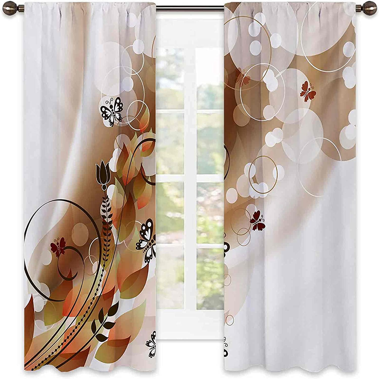 Tan Bedroom Rod Pocket At the price Translated of surprise Blackout Themed Curtains Spring Abstract