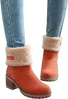dfa9512e040f0 Mostrin Women's Winter Snow Boots Waterproof Round Toe Suede Chunky Mid  Heels Warm Fur Ankle Boots