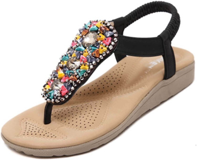 GIY Women's Bling Flat Flip Flops Bohemian Beach Sandals Fashion Comfort Summer Elastic colorful Thong