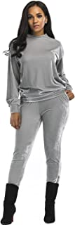 Aecibzo Women's 2 Pieces Long Sleeve Velvet Sweatshirt and Pants Tracksuit Outfits