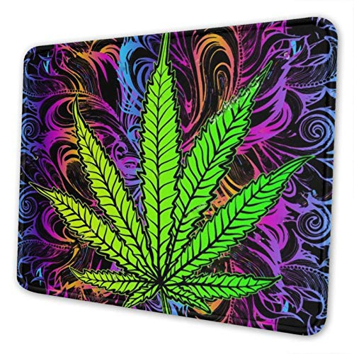 Gearsly Trippy Marijuana Leaf Weed Gaming Mouse Pad Mat Mousepad Thick Non-Slip Rubber Rectangle Computers Laptop Mouse Pads for Home Office 8.3 X 10.3 in