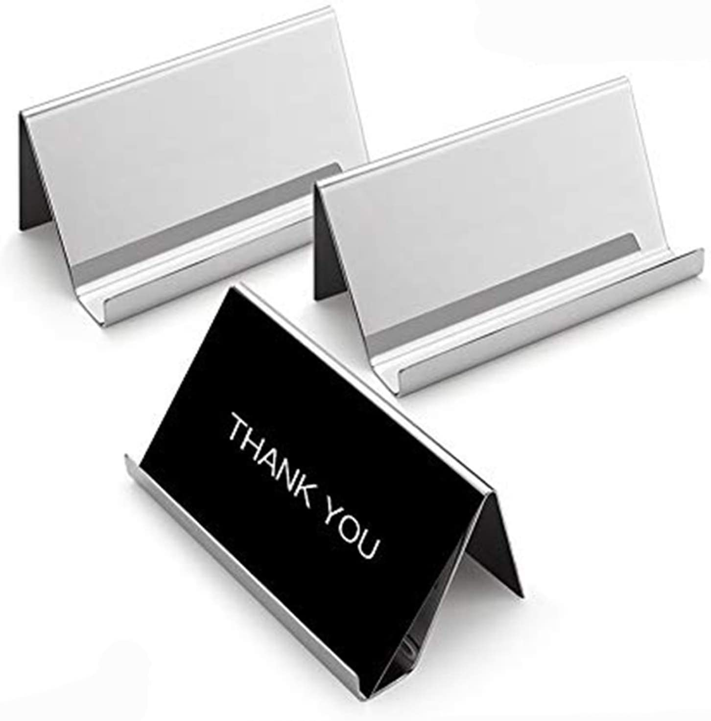 Sooez Business Card Holders Stand for Desk, 20 Pack Office Stainless Steel  Business Card Table Top Display Stand Metal Name Card Holder Desktop ...