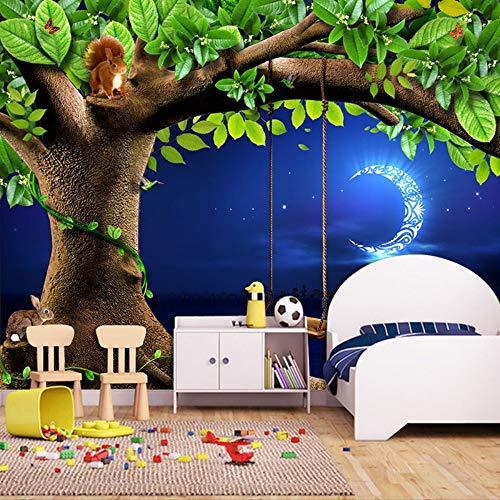 Sucsaistat Benutzerdefinierte 3D Fototapete Night Sky Mond Baum Tier Eichhörnchen Kaninchen Kinderzimmer Schlafzimmer Vlies Wandbild Tapete Wanddekor,200 * 140Cm