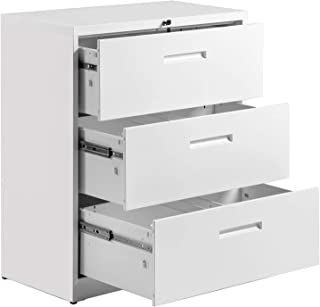 3 Drawer File Cabinet Lockable Heavy Duty Metal File Cabinet Lateral White 35.4