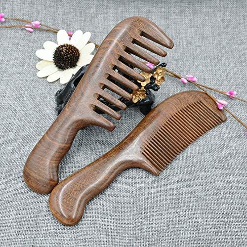 Peignes à cheveux et de massage en bois de santal naturel Dents fines et dents larges non statiques