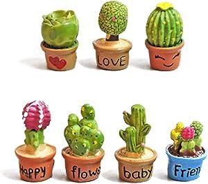 7pcs Mini figura de resina Cactus en maceta Plantas estatua en miniatura del paisaje de accesorios Bonsai ornamento