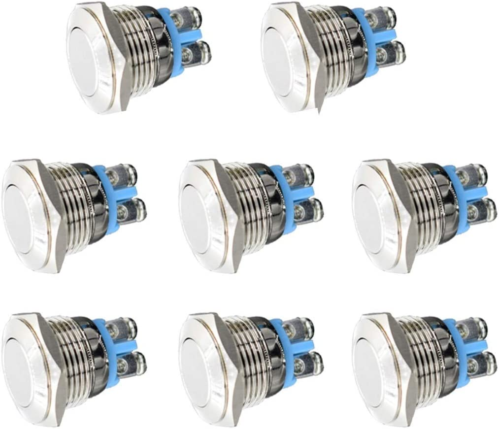 Thlevel Metal Momentary Push Button Switch 12V ON//OFF for 16mm 5//8 Mounting Hole Bell Push Button Car Home and DIY
