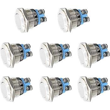 2pcs 8 mm Mini Micro Métal 2Pin étanche momentanée bouton-poussoir HC