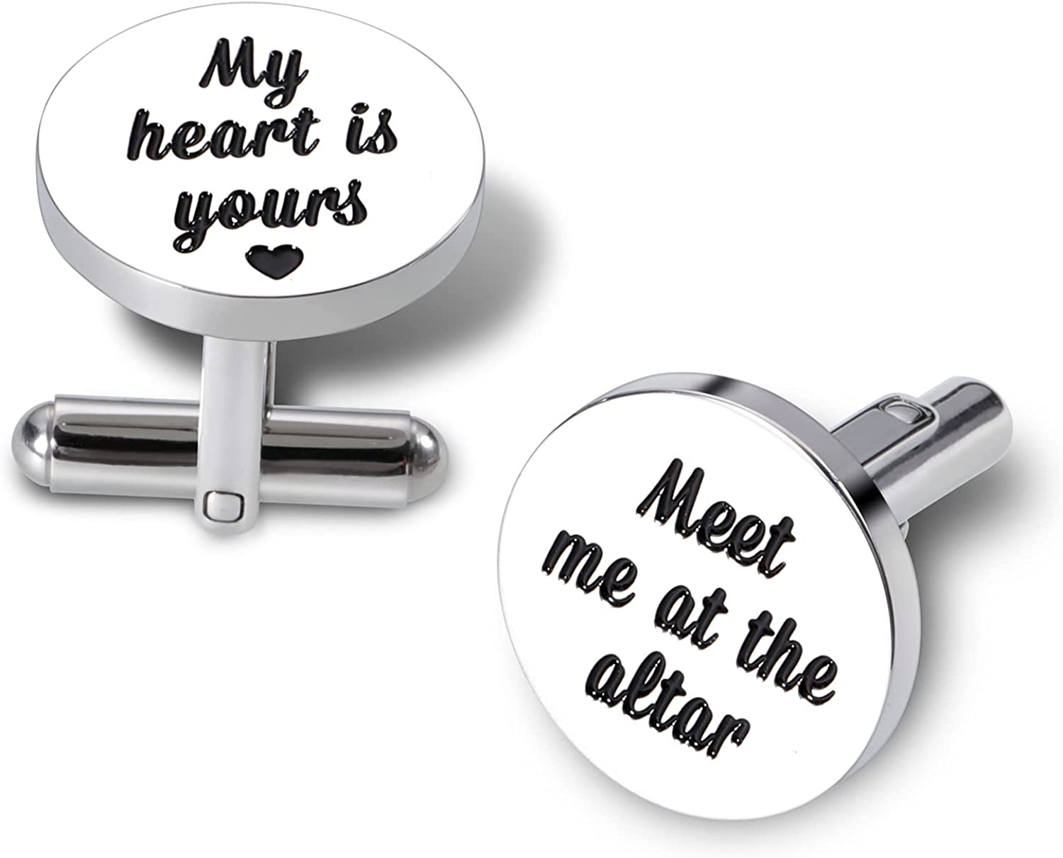 2PCS Cufflink for Men Groom from Bride Wedding Gifts for Him Her Husband To Be Hubby Cuff Links To My Man Gifts from Wife Girlfriend to Boyfriend Gifts for Couple Fiance I Love You Gifts Jewelry