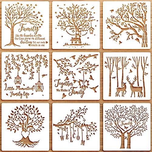 Kit de 9 Plantillas de �rbol Familiar Plantilla de Dibujo de Arte Reutilizable Plantillas de Pintura de �rbol de DIY Plantillas de Trazado de Dibujo de Scrapbooking, 12 x 12 Pulgadas