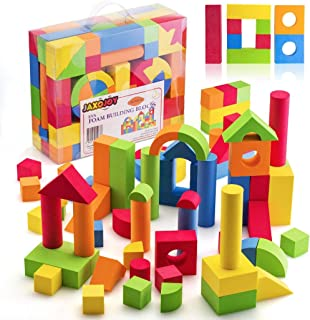 JaxoJoy Foam Building Blocks for Kids- 108 Piece EVA Foam Blocks Gift Playset for Toddlers Includes Large, Soft, Stackable...