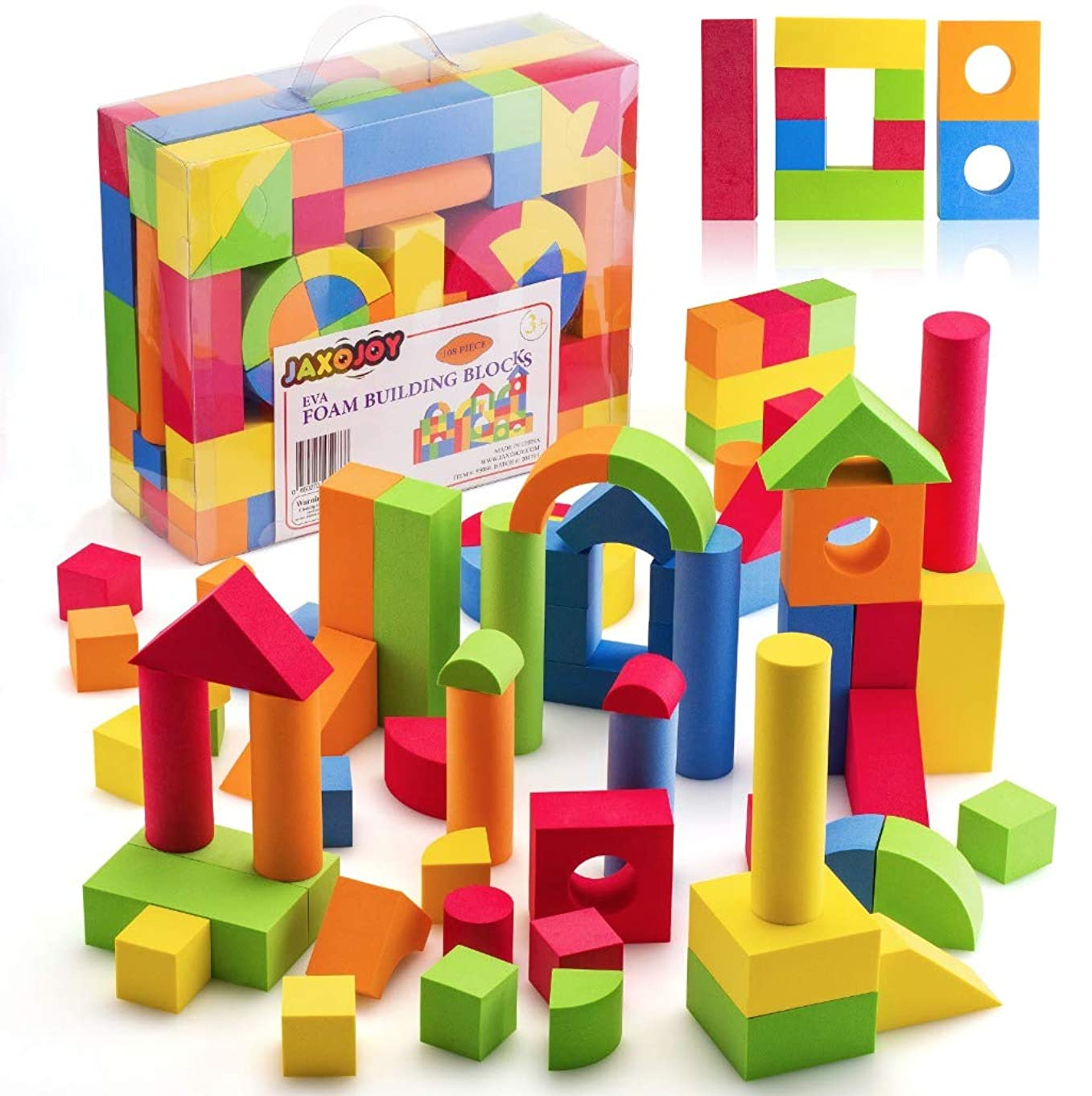 JaxoJoy Foam Building Blocks for Kids– 108 Piece EVA Foam Blocks Gift Playset for Toddlers Includes Large, Soft, Stackable Blocks in Variety of Colors, Shapes & Sizes – Recommended Ages 3+.