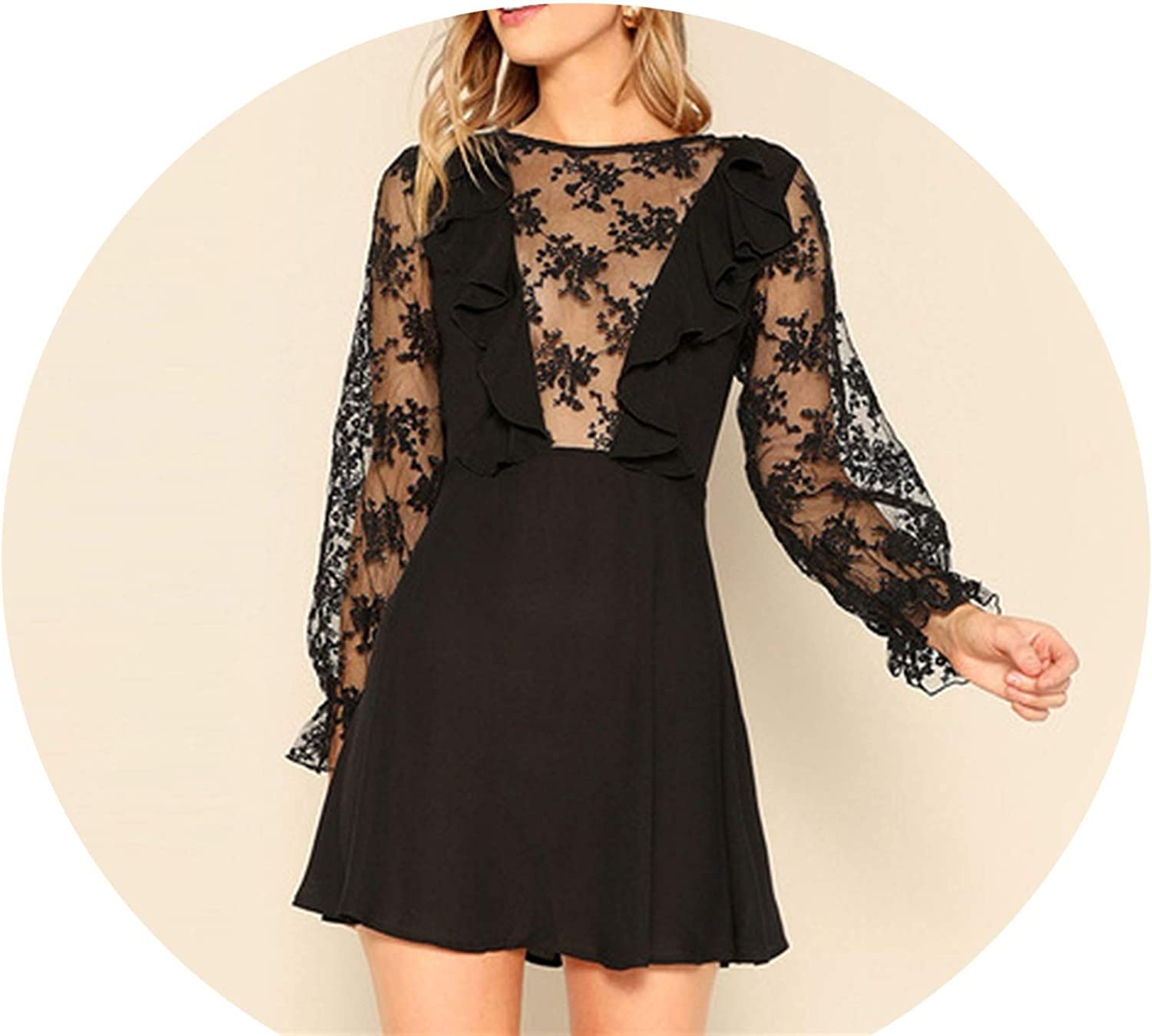 colorfulspace Lace Mesh Sleeve Sheer Women Dress 2019 Spring ONeck A Line Fit and Flare Mini Elegant Dresses
