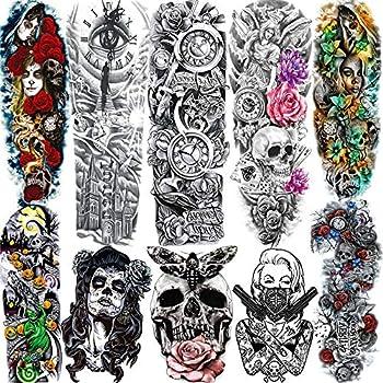 SANATA 10 Sheets Halloween Death Skull Skeleton Full Arm Temporary Tattoo Sleeve For Kid Women Day Of Dead Face Costume Poker Red Rose Punk Girl Fake Temporary Tattoos For Men Sticker Old School Clock