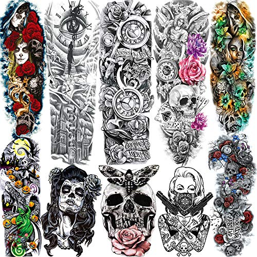 SANATA 10 Sheets Halloween Death Skull Skeleton Full Arm Temporary Tattoo Sleeve For Kid Women Day Of Dead Face Costume Poker Red Rose Punk Girl Fake Temporary Tattoos For Men Sticker Old School Clock