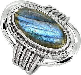 YoTreasure Blue Labradorite Solid 925 Sterling Silver Ring