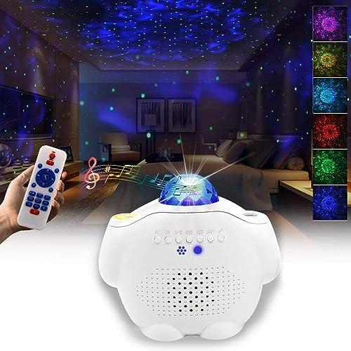 Starry Night Light Projector Bedroom, 3 in 1 Ocean Wave Projector Galaxy Projector Light w/Bluetooth Music Speaker fo...