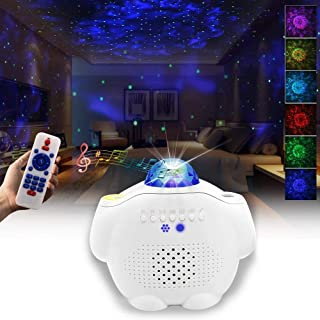 Starry Night Light Projector Bedroom, 3 in 1 Ocean Wave Projector Galaxy Projector Light w/Bluetooth Music Speaker for Bab...