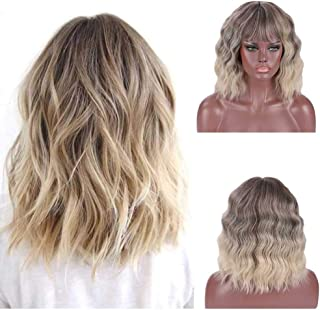 DIFEI Ultra Flirty Balayage Hairstyle Wigs Short Shoulder Length Curly Haircuts with Bangs Natural Looking for Girls