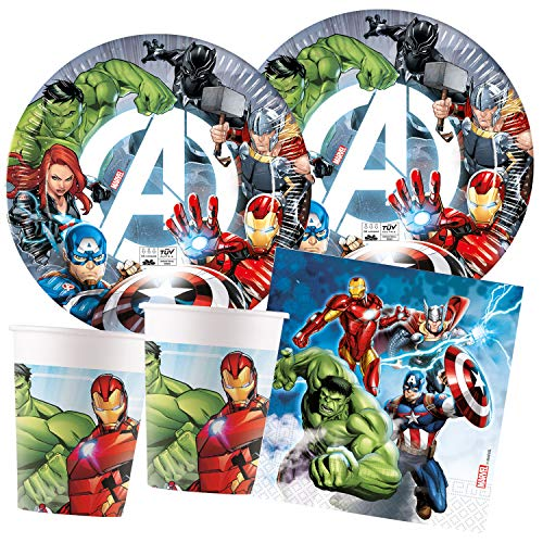 Procos – Kinderpartyset Marvel Avengers, Fight, kompostierbar, Teller, Becher, Servietten, Tischdeko, Kindergeburtstag, Grillparty, Motto Party