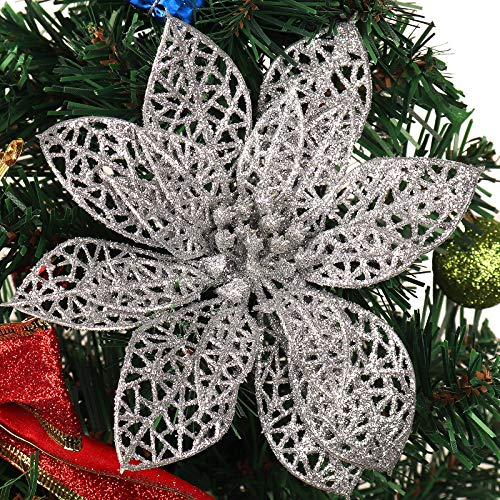 RECUTMS 12 Pieces Christmas Glitter Flowers Decorative Artificial Flowers Poinsettia Christmas Flower Decoration for Xmas Tree Toppers Ornaments (Silver-Hollow)