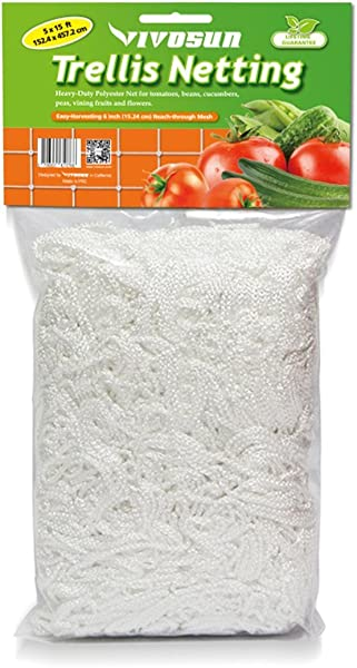 VIVOSUN Heavy Duty Polyester Plant Trellis Netting 5 X 15ft 1 Pack