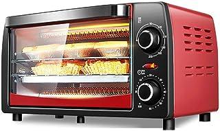 Mini horno eléctrico para hornear, pequeño horno eléctrico y parrilla, mini horno con hornillos, horno eléctrico doméstico de 12 litros, temporización de 60 minutos, control de temperatura libre, rojo
