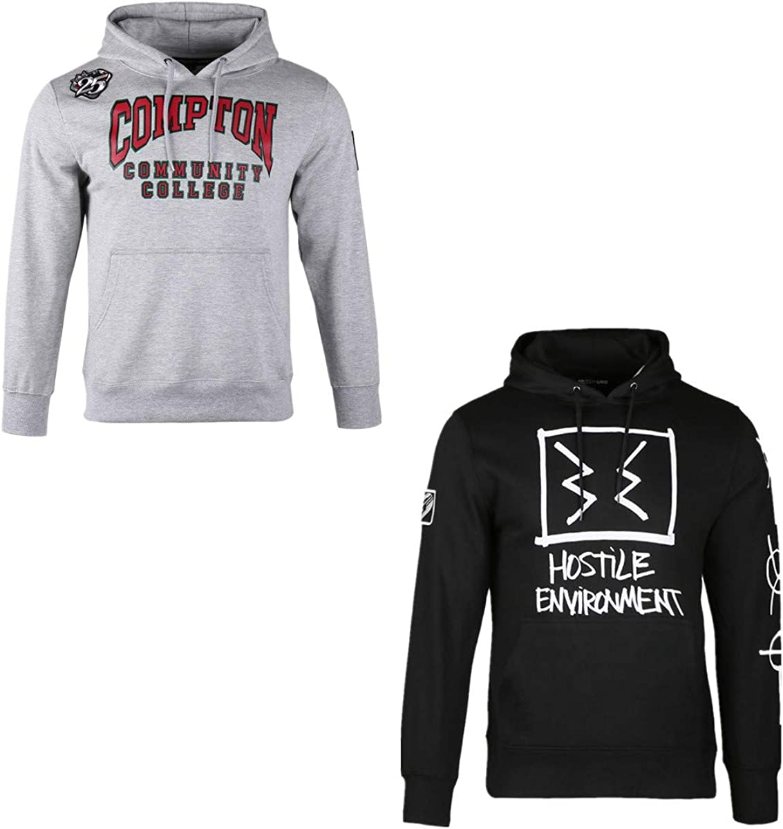 2 Pack Men's Sweater Cotton Lined Pullover Heavyweight College Streetwear with Drawstring