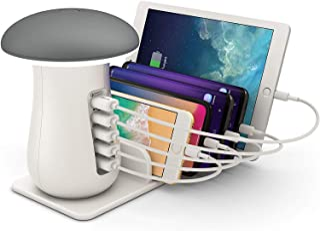 ONLT ベッドサイドランプ LED QC3.0 充電ステーション 2A急速充電 2色温·3段階調光 一台2役 テーブルライト 5ポート付き 10W iPhone/iPad/AirPods/Androidスマホ/タブレット対応 日本語説明書