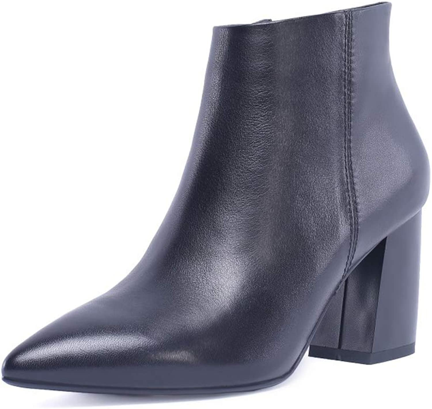 Women's Booties, Fall Winter Leather Martin Boots Ladies Plus Velvet Thick Heel Side Zipper Fashion Ankle Boots (color   B, Size   34)