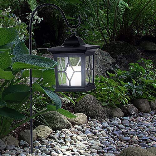 LED Steck Lampe SOLAR Laterne schwarz Feuereffekt Deko Beleuchtung Garten Balkon Leuchte rustikal